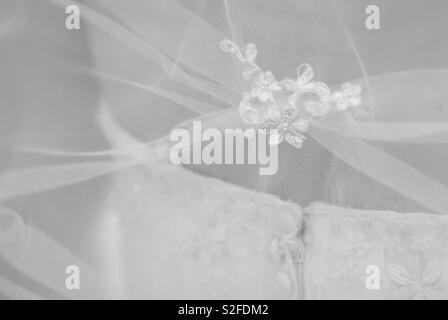 Detail of wedding dress - Stock Image