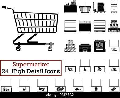 Set of 24 Supermarket Icons. Monochrome color design. Vector illustration. - Stock Image