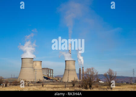 Coal powered Bobov dol thermal power plant in Bulgaria - Stock Image