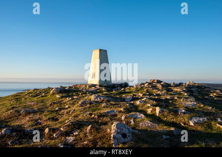 Trig Point at Rhossili downs above Rhossili Bay Gower Swansea Wales - Stock Image
