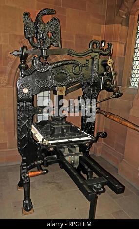 Columbian Gutenberg Printing Press, John Rylands Library, Manchester, North West England, UK, - Stock Image