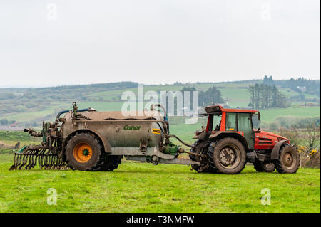 Ballydehob, West Cork, Ireland. 10th Apr, 2019. A farmer spreads slurry on his field on an overcast evening. The weather is set to improve tomorrow with sunshine and highs of 15°C. The weekend will be wet and very windy. Credit: Andy Gibson/Alamy Live News. - Stock Image