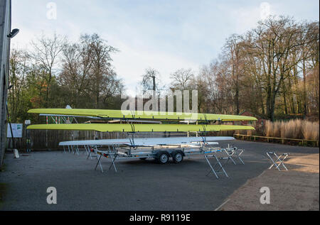 Scull rowing boats on a trailer. Staffordshire England UK - Stock Image