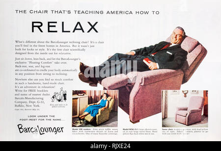 A 1955 magazine advertisement for Barcalounger reclining chairs. - Stock Image