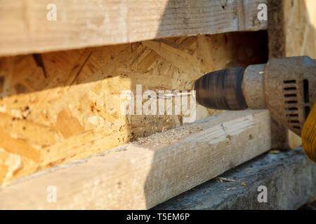 Drilling wooden beams electric drill. Worker makes a hole in the pine rail - Stock Image