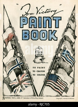 Title page design, For Victory Paint Book, with Allied flags and a V sign, used as a propaganda symbol for Victory during the Second World War. - Stock Image
