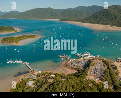 Shut Harbour, Queensland, Australia from Helicopter to Whitsundays - Stock Image