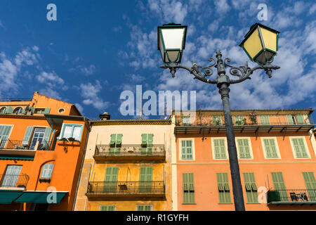 French Reviera, Villefranche sur Mer, colorful facades - Stock Image