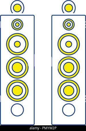 Audio system speakers icon. Thin line design. Vector illustration. - Stock Image