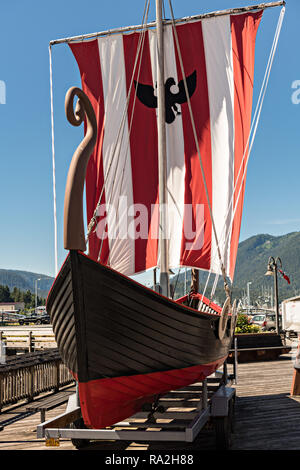 The Sons of Norway Hall Viking ship Vallhalla in Bojer Wikan Fishermens Memorial Park in Petersburg, Mitkof Island, Alaska. Petersburg settled by Norwegian immigrant Peter Buschmann is known as Little Norway due to the high percentage of people of Scandinavian origin. - Stock Image