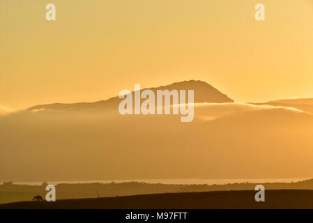 Sugarloaf Golden Sunset from Sheskin View above Bantry - Stock Image