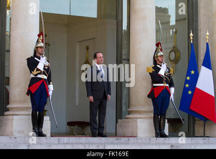 François Hollande French President at the Elysée Palace Paris France - Stock Image