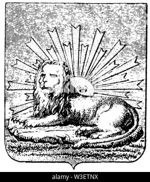 Coat of arms of Persia, ,  (cultural history book, 1875) - Stock Image