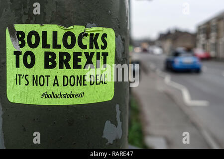 Poster campaign Bollocks to Brexit on lamp posts in the town of Glossop in Derbyshire - Stock Image