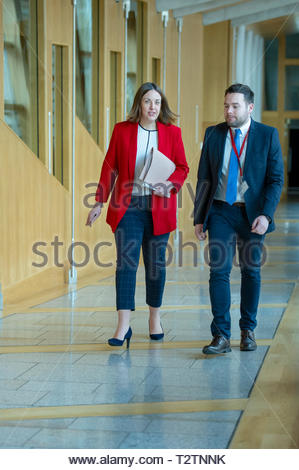 Edinburgh, UK. 4th April, 2019.  Kezia Dugdale arriving for First Ministers Questions in the Scottish Parliament. Credit: Roger Gaisford/Alamy Live News - Stock Image