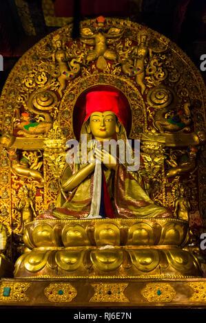 Tibet, Kloster Sakya, Buddhafigur - Stock Image