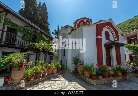 Inside the Monastery of Evangelistria, Skopelos, Northern Sporades Greece. - Stock Image