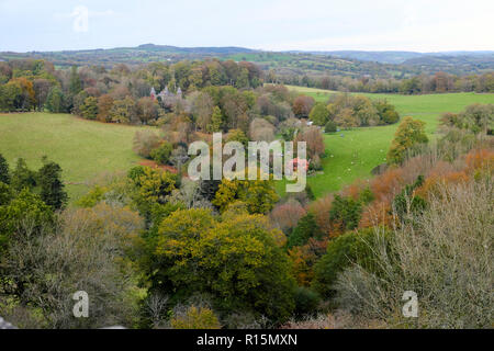 High view of Newton House in Dinefwr Park woodland in autumn near Llandeilo Carmarthenshire South Wales UK  KATHY DEWITT - Stock Image