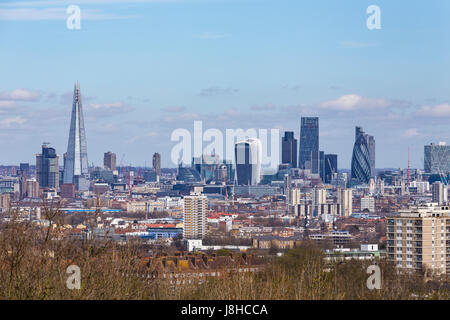 City of London from One Tree Hill, Honor Oak Park, London, England, United Kingdom - Stock Image