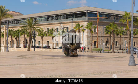 Cartagena Spain statue To Victims of Terrorism in busy Spanish port city - Stock Image