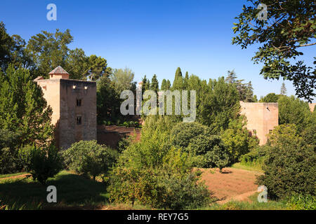 Towers around the perimeter of the Alhambra Palace in Granada Spain - Stock Image