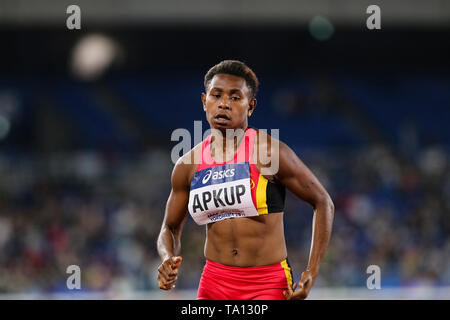 YOKOHAMA, JAPAN - MAY 12: Isila Manukip Apkup of Papua New Guinea in the women's 4x200m relay final during Day 2 of the 2019 IAAF World Relay Championships at the Nissan Stadium on Sunday May 12, 2019 in Yokohama, Japan. (Photo by Roger Sedres for the IAAF) - Stock Image