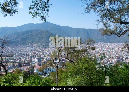 Kathmandu city from Swyambhunath Stupa - Stock Image