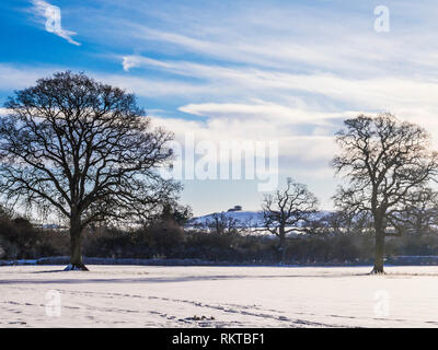 A snowy winter's day in the Wiltshire countryside. - Stock Image