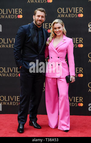 London, UK. 7th Apr 2019. Chris Robshaw and Camilla Kerslake poses on the red carpet at the Olivier Awards on Sunday 7 April 2019 at Royal Albert Hall, London. Picture by Credit: Julie Edwards/Alamy Live News - Stock Image
