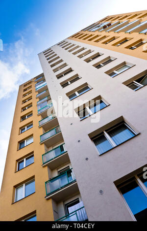 multi story apartments building in Czech republic, or Panelak - Stock Image
