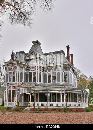 Front exterior entrance to a classic Victorian Gothic private residence or home or house in Newnan Georgia, USA. - Stock Image