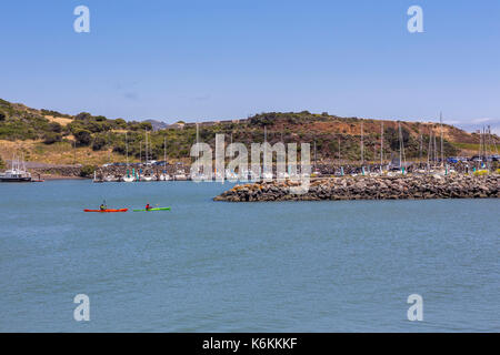 people, adult men, kayakers, kayaking, Fort Baker, city of Sausalito, Marin County, California, United States, North America - Stock Image