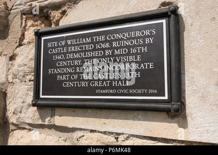 Stamford Civic Society information sign indicating the location of remains of William the Conqueror's castle in Stamford, Lincolnshire, England, UK - Stock Image