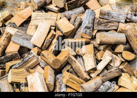 Log Pile - wood background image - Stock Image