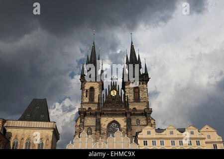 Tyn Church in Old Town Square in Prague, Czech Republic. - Stock Image