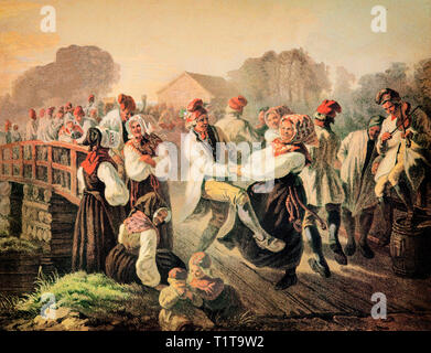 19th Century country people dancing on the Floda Bridge in Scania, also known as Skåne in the southernmost province (landskap) of Sweden - Stock Image