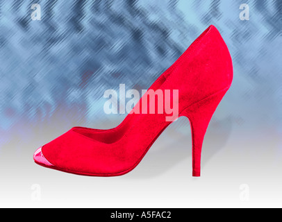 The red high heeled shoe - Stock Image