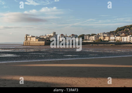 Weston-super-Mare, North Somerset, England, UK - October 05, 2018: View over the beach with Knightstone Harbour in the background - Stock Image