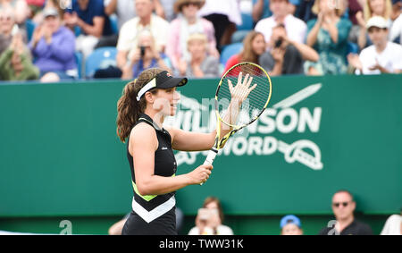 Eastbourne, UK. 23rd June 2019.  Johanna Konta of Great Britain celebrates after defeating Dayana Yastremska of Ukraine in their first round match at the Nature Valley International tennis tournament held at Devonshire Park in Eastbourne . Credit : Simon Dack / TPI / Alamy Live News - Stock Image