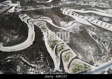 Aerial view of drylands farming. Castejon de Monegros, Huesca, Aragon, Spain, Europe - Stock Image
