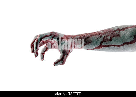 Bloody hand isolated on white background with clipping path - Stock Image