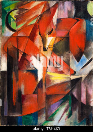 Franz Marc, The Foxes, painting, 1913 - Stock Image