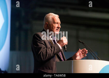 Václav Klaus  2nd President of the Czech Republic, speaking in support of the Brexit Party, during a political Rally at Olympia, London - Stock Image
