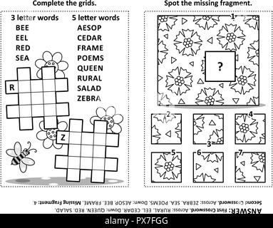 Activity page with two puzzles. Fill-in crossword puzzle or word game. Spot the missing fragment of the pattern. Black and white. Answers included. - Stock Image