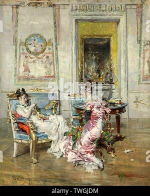 Giovanni Boldini / Ladies of the First Empire. 1875. Museum: COLECCION PARTICULAR. - Stock Image