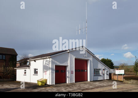 Presteigne Fire Station, Powys, UK. It forms part of the Mid and West Wales Fire and Rescue Service - Stock Image