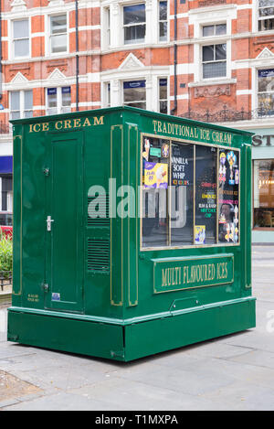 Traditional ice cream sales kiosk in Charing Cross Road, Covent Garden, London, England, UK - Stock Image