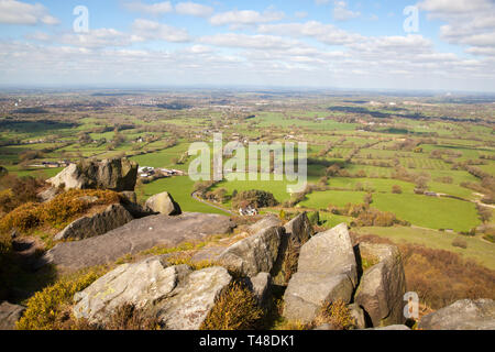 The Cheshire plain and surrounding  countryside seen from  Bosley cloud or Cloud end near Congleton Cheshire England - Stock Image