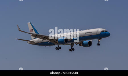 Air Force 2 with Vice President Pense on final approach to Burbank California. - Stock Image