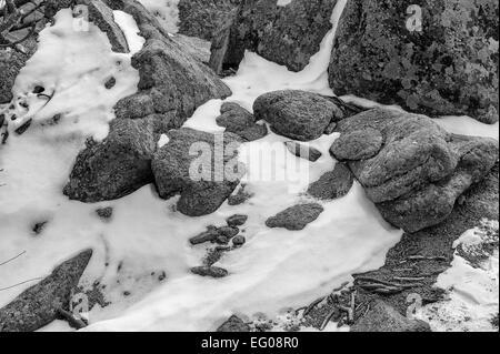 Black and White, Rocky Terrain, winter, Landscape, snow, - Stock Image